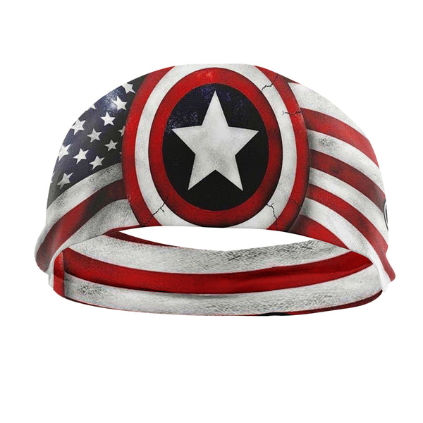 RAVEbandz The Pro - Wide Stretch Headband (Vintage Captain America)
