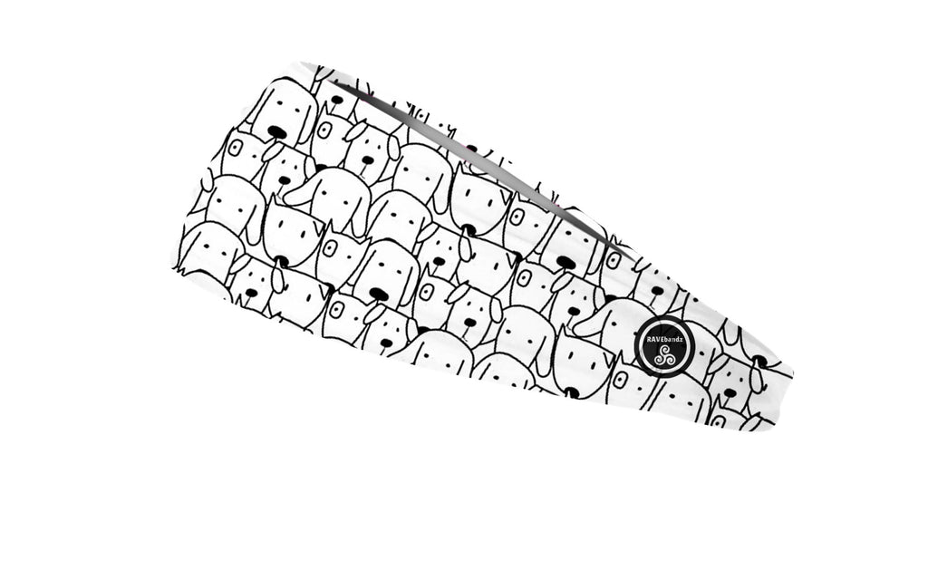 RAVEbandz The Pro - Wide Stretch Headband (Dog Faces Doodle)
