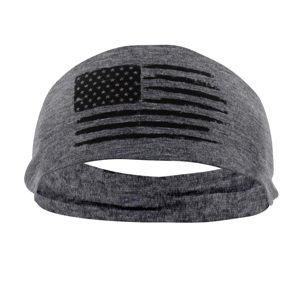 RAVEbandz The Pro - Wide Stretch Headband (Grey Grunge Flag)