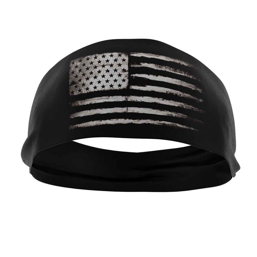 RAVEbandz The Pro - Wide Stretch Headband (Grunge Flag)