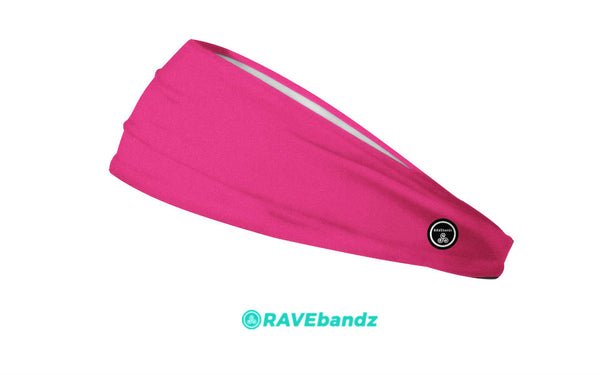 RAVEbandz The Pro - Wide Stretch Headband (Solid Hot Pink)