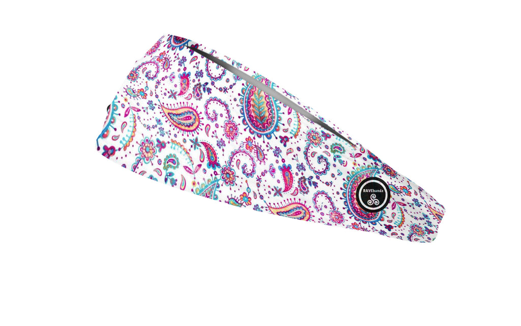 RAVEbandz The Pro - Wide Stretch Headband (Poppin Paisley)