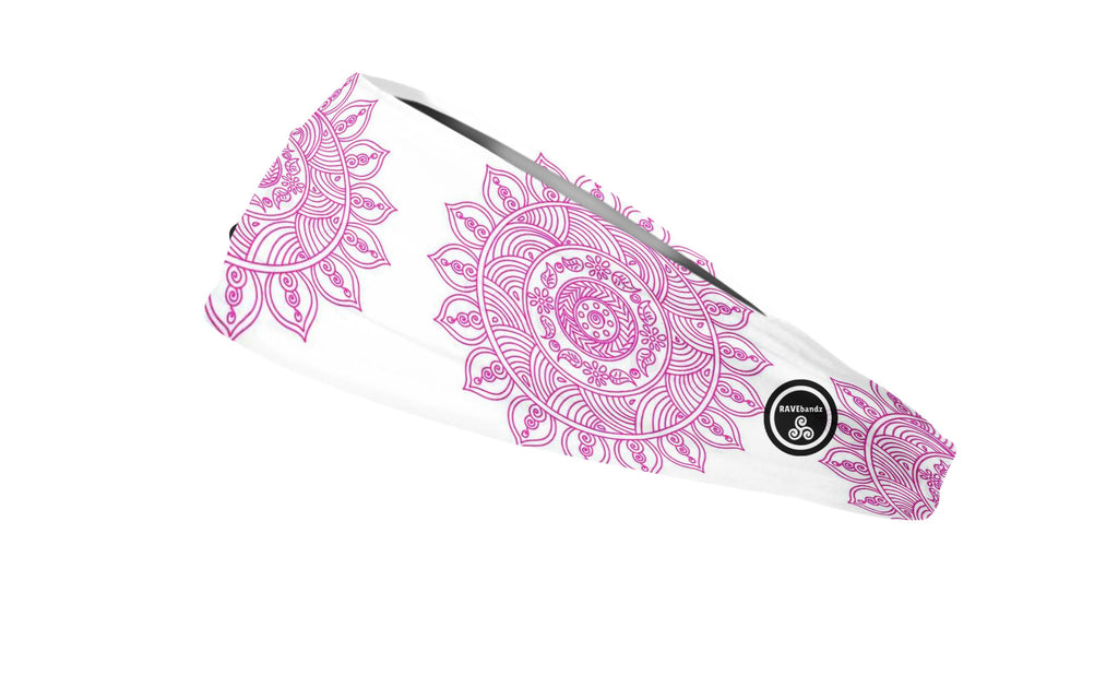RAVEbandz The Pro - Wide Stretch Headband (Pink Mandala)