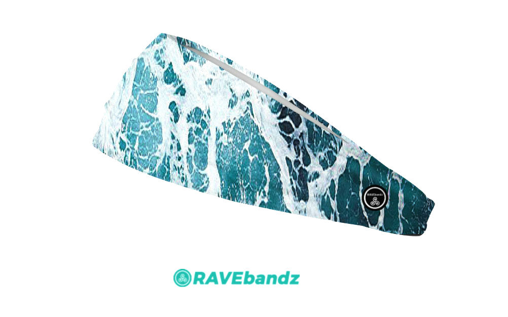 RAVEbandz The Pro - Wide Stretch Headband (Whirlpool)