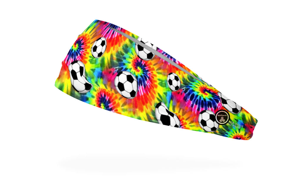 RAVEbandz The Pro - Wide Stretch Headband (Tie Dye Soccer)