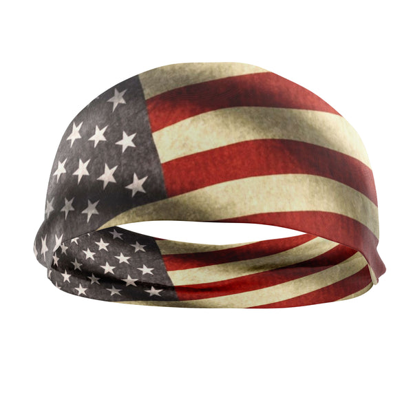 RAVEbandz The Pro - Wide Stretch Headband (Vintage Flag)