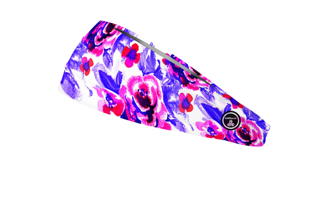 RAVEbandz The Pro - Wide Stretch Headband (Watercolor Flowers)