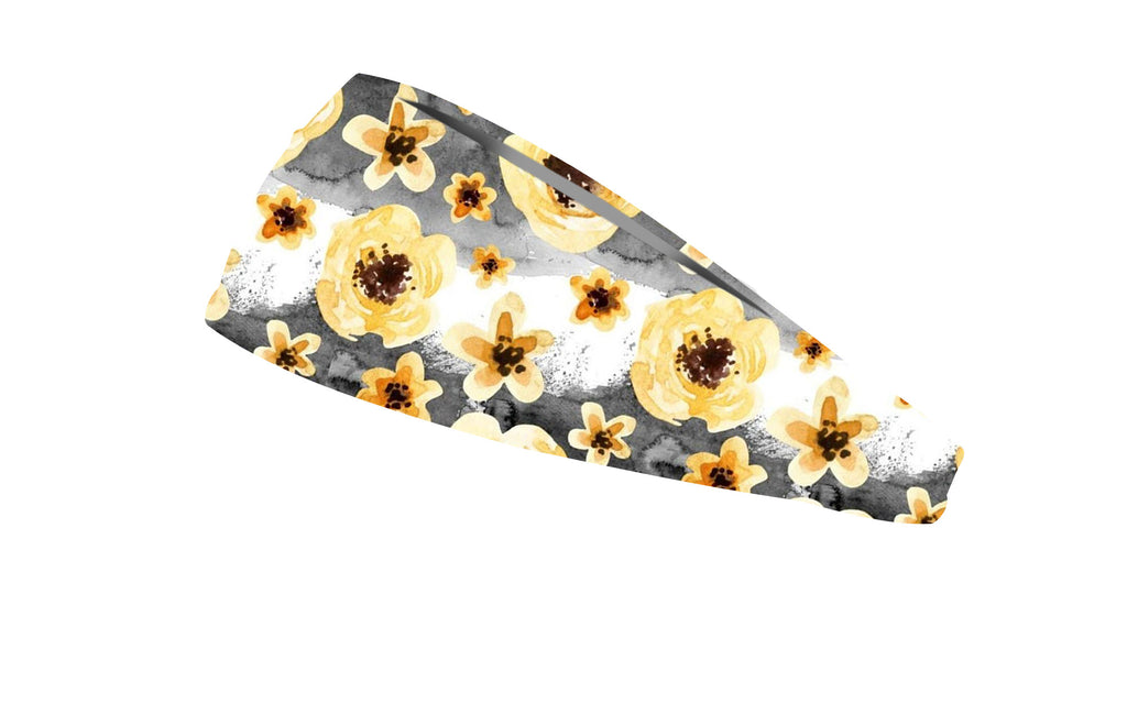 RAVEbandz The Pro - Wide Stretch Headband (Yellow Watercolor Flowers)