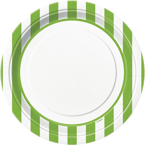 "Green Stripes 9"" Round Paper Plates 8pk - Party Republic"