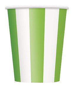 Green Stripes 12oz Large Paper Cups 6pk - Party Republic