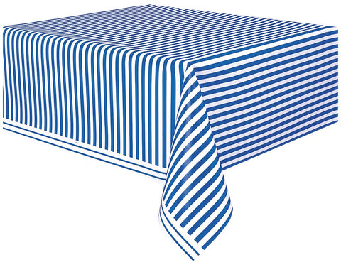 Blue Stripes Rectangular Plastic Tablecover - Party Republic