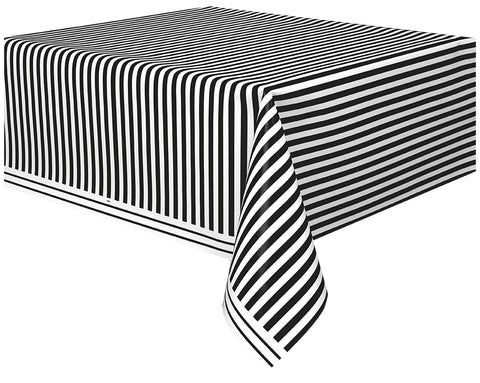 Black Stripes Rectangular Plastic Tablecover - Party Republic