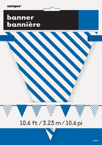 Blue Dots & Stripes Triangle Flag Banner - Party Republic