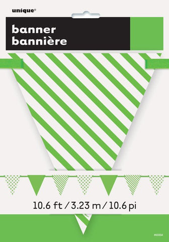 Green Dots & Stripes Triangle Flag Banner - Party Republic