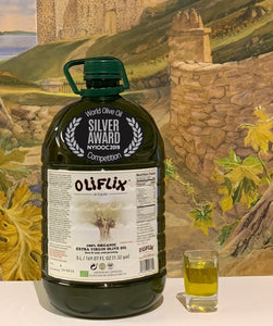 Oliflix Extra Virgin Olive Oil 5 Liter Bottle with Glass