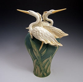 2 Herons Vase - Eclipse Gallery