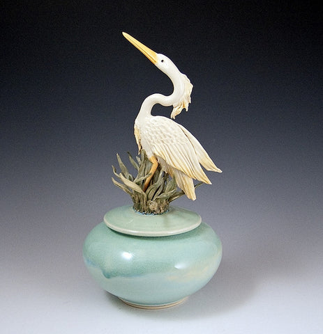 Heron Covered Jar Glazed