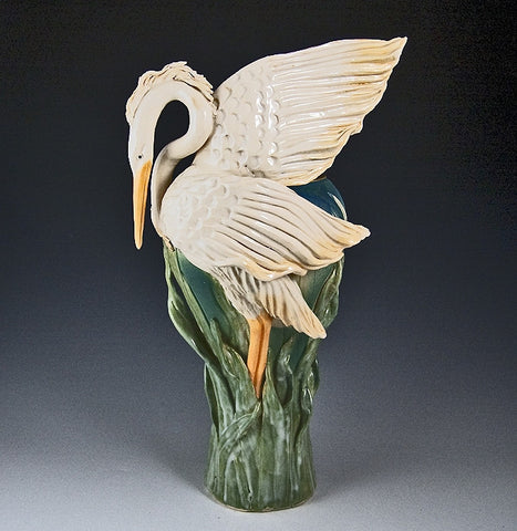 Flame Wing Heron Vase - Eclipse Gallery