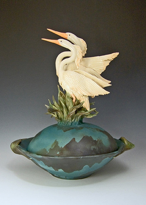 2 Herons Covered Bowl