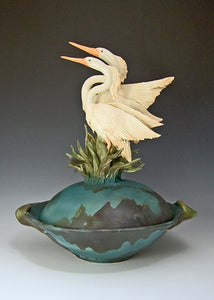 2 Herons Covered Bowl - Eclipse Gallery