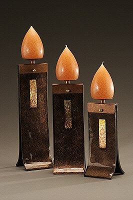 Black Glass Candle Holders - Eclipse Gallery