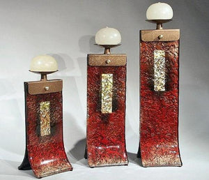 Red Glass Candle Holders