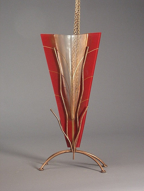 Tall Red Abstract Vase