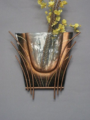Black Abstract Glass Vase for Wall