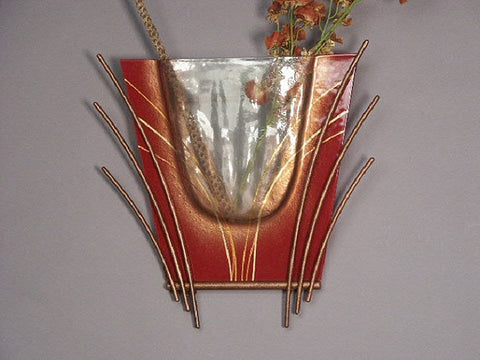 Red Abstract Glass Vase for Wall