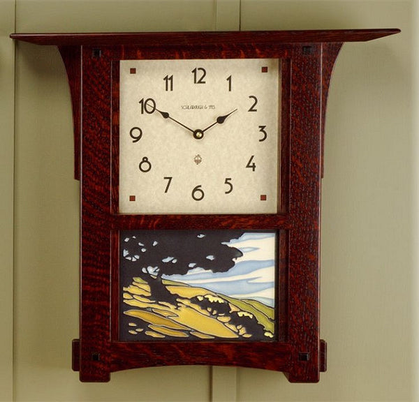 Arts and Crafts Tile Wall Clock - Eclipse Gallery