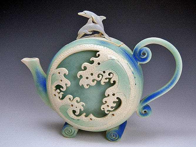 Dolphin Wave Box Teapot