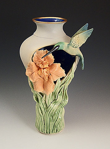 Hummingbird Iris Cutout Vase - Eclipse Gallery