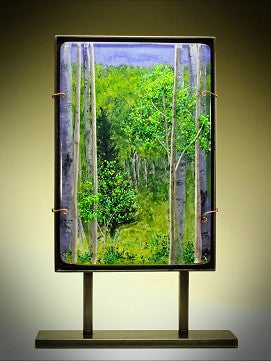 ''Aspens in Spring'' Glass Sculpture