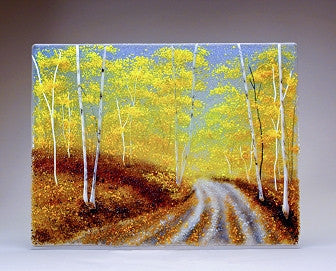 ''Autumn Road'' Glass Frit Painting - Eclipse Gallery