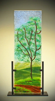 """Oak along the Road'' Glass Frit Painting"