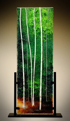 ''Forest Green'' Glass Frit Painting - Eclipse Gallery