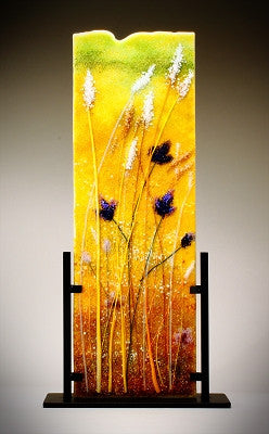"""Flowers in the Wheat Field'' Glass Frit Painting - Eclipse Gallery"
