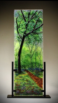 ''The Color-filled Path'' (Oak) Glass Frit Painting - Eclipse Gallery