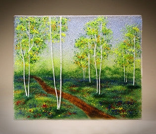 ''Path Thru the Spring Aspens'' Glass Frit Painting - Eclipse Gallery