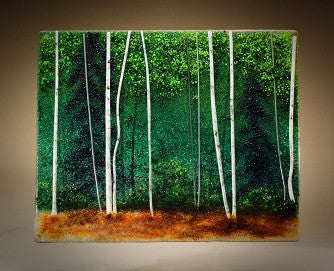 ''Forest Green Translation'' Glass Frit Painting - Eclipse Gallery
