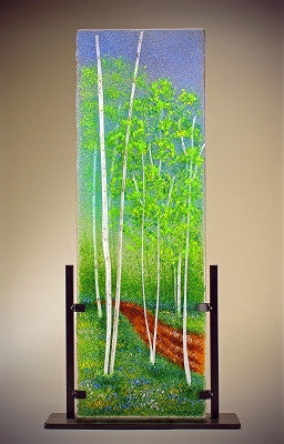 """Color-filled Path"" (Aspens) Glass Frit Painting - Eclipse Gallery"