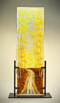 """Autumn Road in Styx"" Glass Frit Painting"