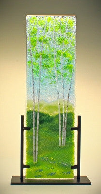 ''Spring Aspens'' Glass Frit Painting