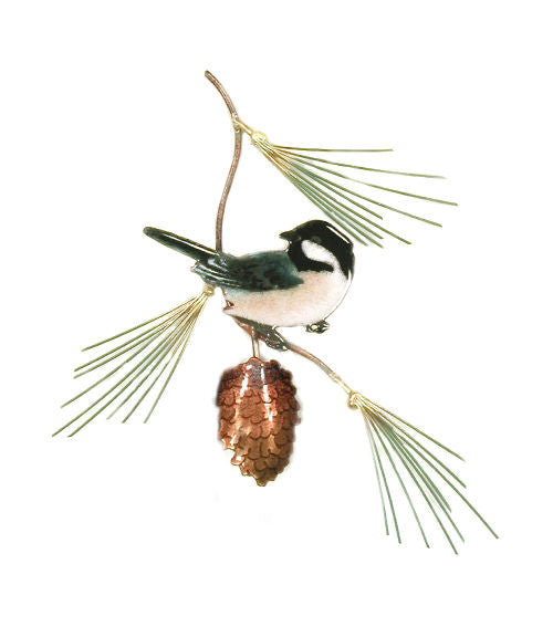 Chickadee on Pine Bough