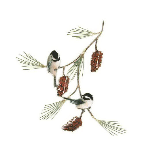 Chickadees (2) on Pine Bough