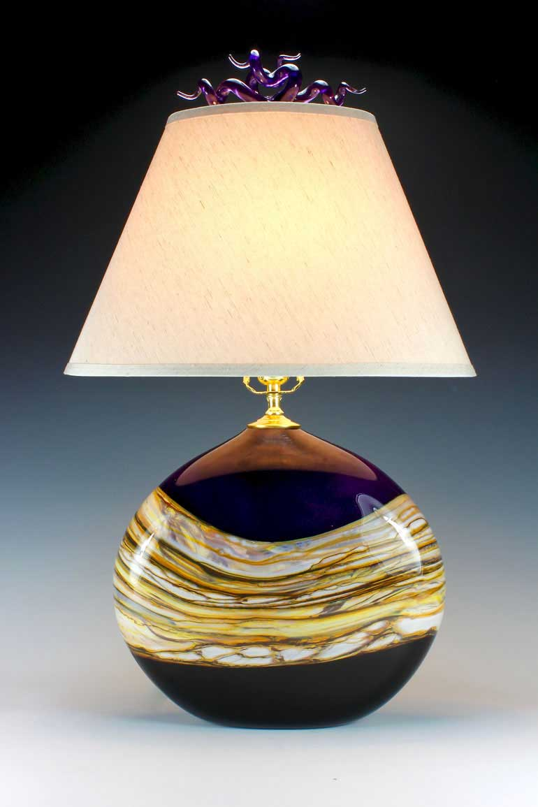 Amethyst Strata Flat Table Lamp
