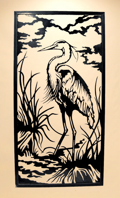 Heron in Reeds - vertical framed wall piece