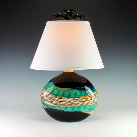 Black-Opal-Flat-Table-Lamp-with-Tulip-and-Tendril-Finia-Danielle-Blade-and-Stephen-Gartner-Eclipse-Gallery