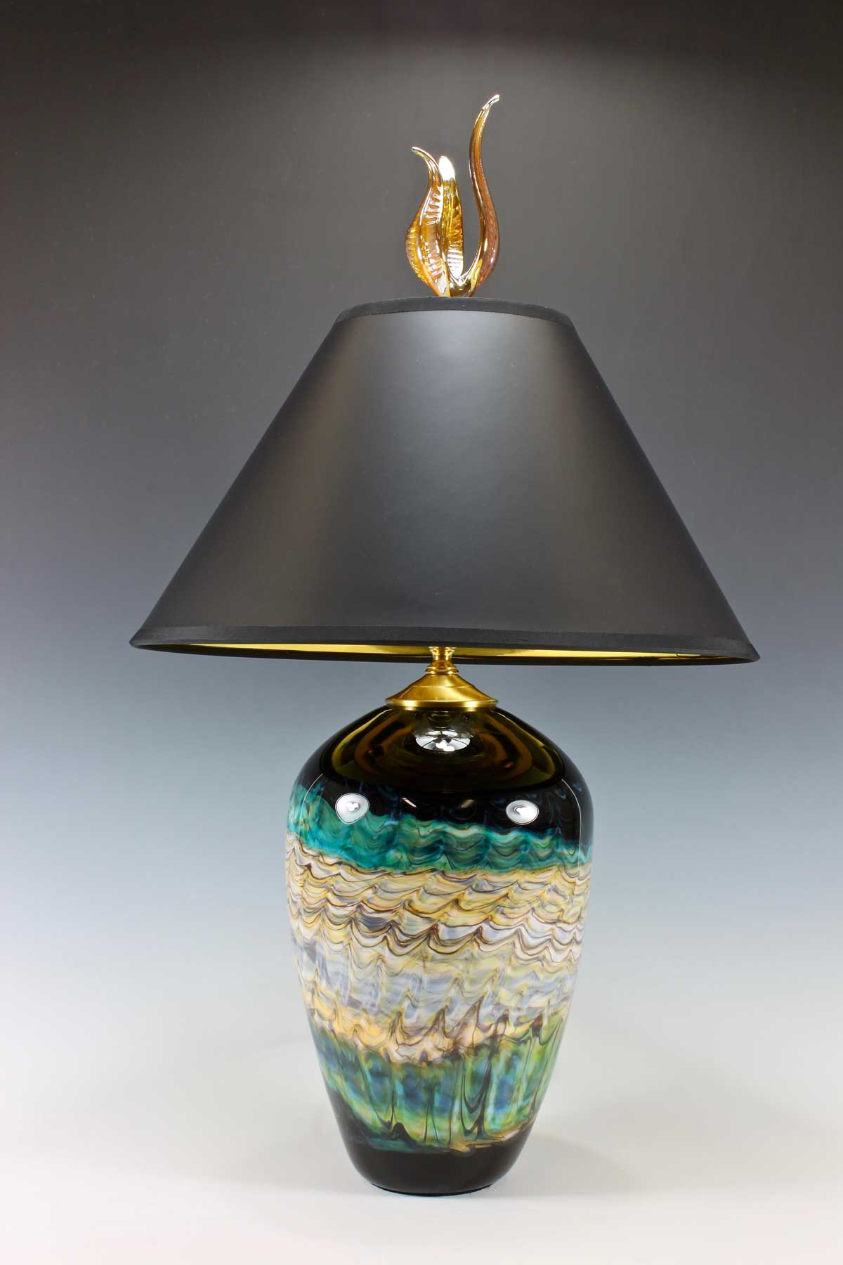 Black-Opal-Turquoise-Table-Lamp-with-Tulip-Finial-Danielle-Blade-and-Stephen-Gartner-Eclipse-Gallery