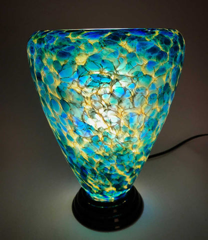 Blue and Yellow Glass Lamp II - Eclipse Gallery